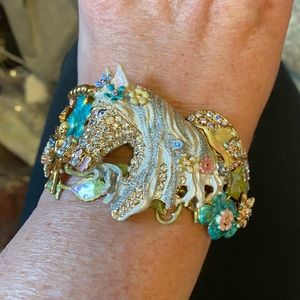 Kirks Folly Hinged Cuff Bracelet Unicorn